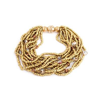 Splendid Iris Gold Beaded Multi Layer Bracelet With Gold Magnetic Closure