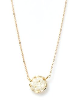 Splendid Iris White Woven Circle Charm Gold Necklace