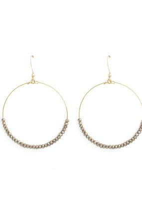 Splendid Iris Open Circle With Grey Beads Gold Earrings