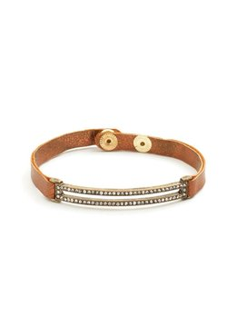 Splendid Iris Narrow Bronze Band Bracelet With Open Shimmer Rectangle And Gold Snap Closure