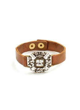 Splendid Iris Medium Bronze Band Bracelet With Multi Crystal Shimmer Medallion And Gold Snap Closure
