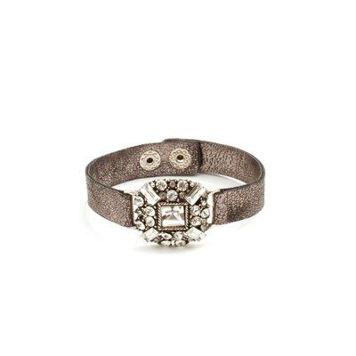 Splendid Iris Medium Black Band Bracelet With Multi Crystal Shimmer Medallion And Silver Snap Closure
