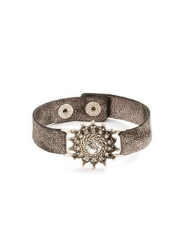 Splendid Iris Medium Black Band Bracelet With Shimmer Sunburst And Silver Snap Closure