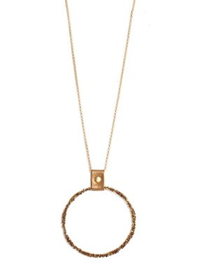 Splendid Iris Large Topaz Necklace With Open Shimmer Circle With Bronze Gold Attachment