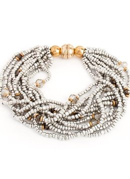 Splendid Iris Silver Beaded Multi Layer Bracelet With Gold Magnetic Closure