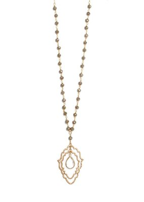 Splendid Iris Double Scallop Necklace With Center Gold Framed Crystal Teardrop On Grey Crystal Chain
