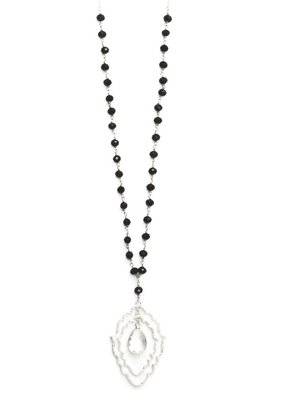 Splendid Iris Double Scallop Necklace With Center Gold Framed Crystal Teardrop On Black Crystal Chain