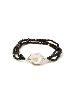 Splendid Iris Smoke Silver Framed Crystal Bracelet With Triple Black
