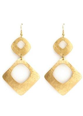 Splendid Iris Double Hammered Open Square Gold Earrings