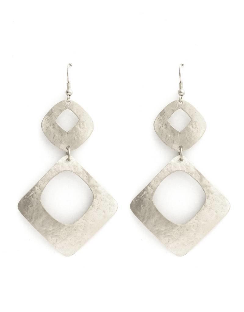 Splendid Iris Double Hammered Open Square Silver Earrings