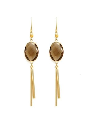 Splendid Iris Smoke Framed Crystal Earrings With Two Gold Bar Accents