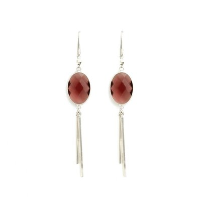 Splendid Iris Eggplant Framed Crystal Earrings With Two Silver Bar Accents