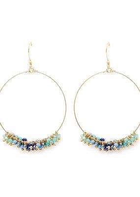 Splendid Iris Circle Earrings With Aqua Cluster Circles