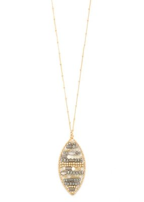 Splendid Iris Grey Woven Marquise Necklace With Long Pendant