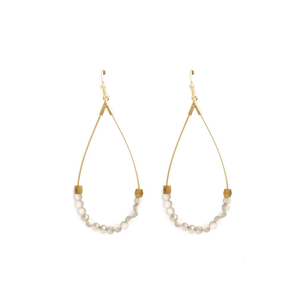 Splendid Iris Teardrop Earrings With Vintage White Beads
