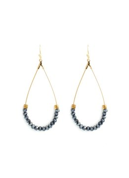 Splendid Iris Teardrop Earrings With Midnight Beads