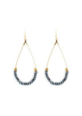 Splendid Iris Teardrop Earrings With Midnight Beads