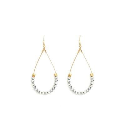 Splendid Iris Teardrop Earrings With Hematite Beads