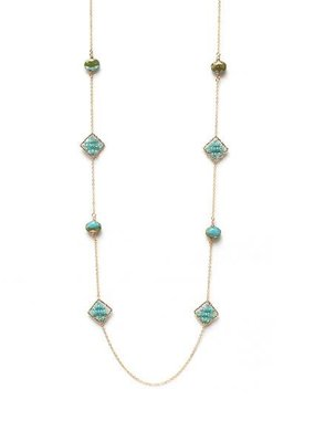 Splendid Iris Long Gold Necklace With Woven Aqua Beads and Crystals