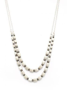 Splendid Iris Long Silver Necklace With Silver Square Beads and Small Charcoal Beads