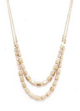 Splendid Iris Long Gold Necklace With Gold Square Beads and Small Silver Beads