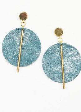 Ink + Alloy Peacock Leather Circle with Brass Post Earrings