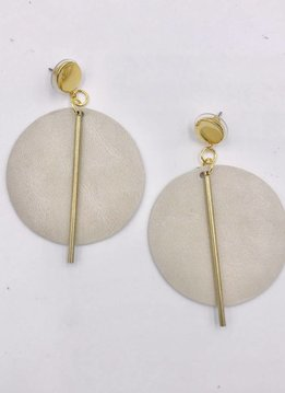 Ink + Alloy Ivory Leather Circle with Brass Post Earrings