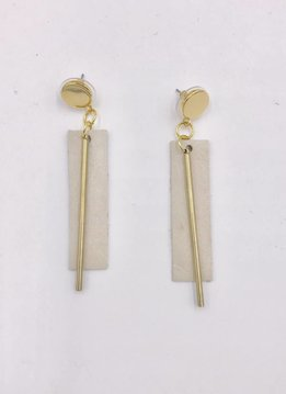 Ink + Alloy Ivory Leather Rectangle with Brass Post Earrings