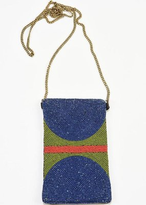 Ink + Alloy Indigo Half Circle with Red Stripe Seed Bead Cross Body