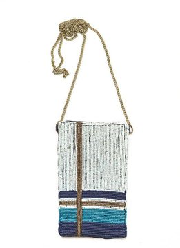 Ink + Alloy Mint, Teal, and Gold Plaid Seed Bead Cross Body Bag
