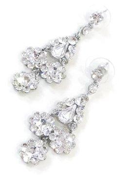 Silver Rhinestone Dangling Flower Earrings
