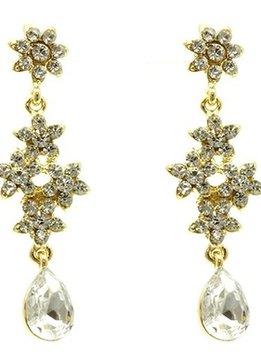 Gold Flower Drop Rhinestone Earring