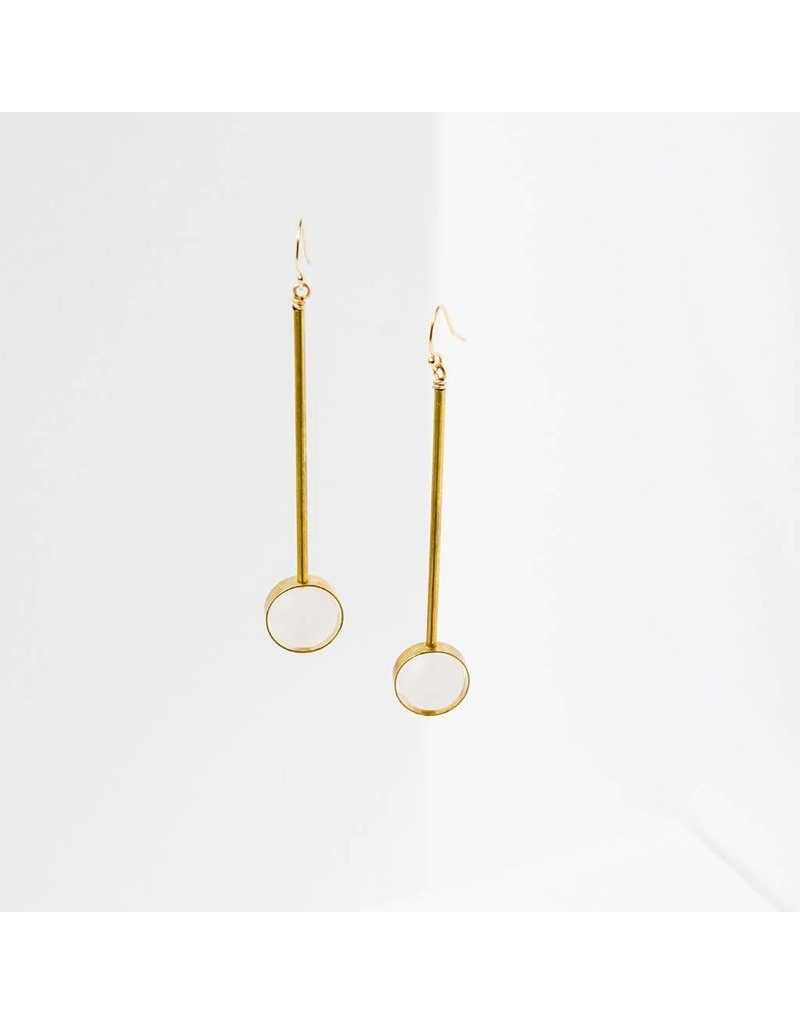 "Larissa Loden Rose Quartz Stone w Brass Bar Abberant 3"" Earrings"