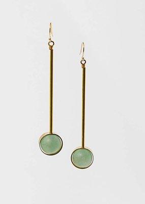 "Green Aventurine Stone w Brass Bar Abberant 3"" Earrings"