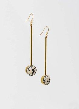 """Dalmatian Jasper Stone w Brass Bar Abberant 3"""" Earrings"""
