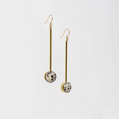 "Larissa Loden Dalmatian Jasper Stone w Brass Bar Abberant 3"" Earrings"
