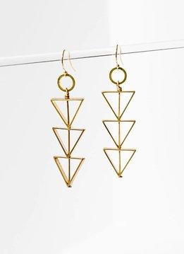 Brass Tri-Cut Open Triangle Earrings
