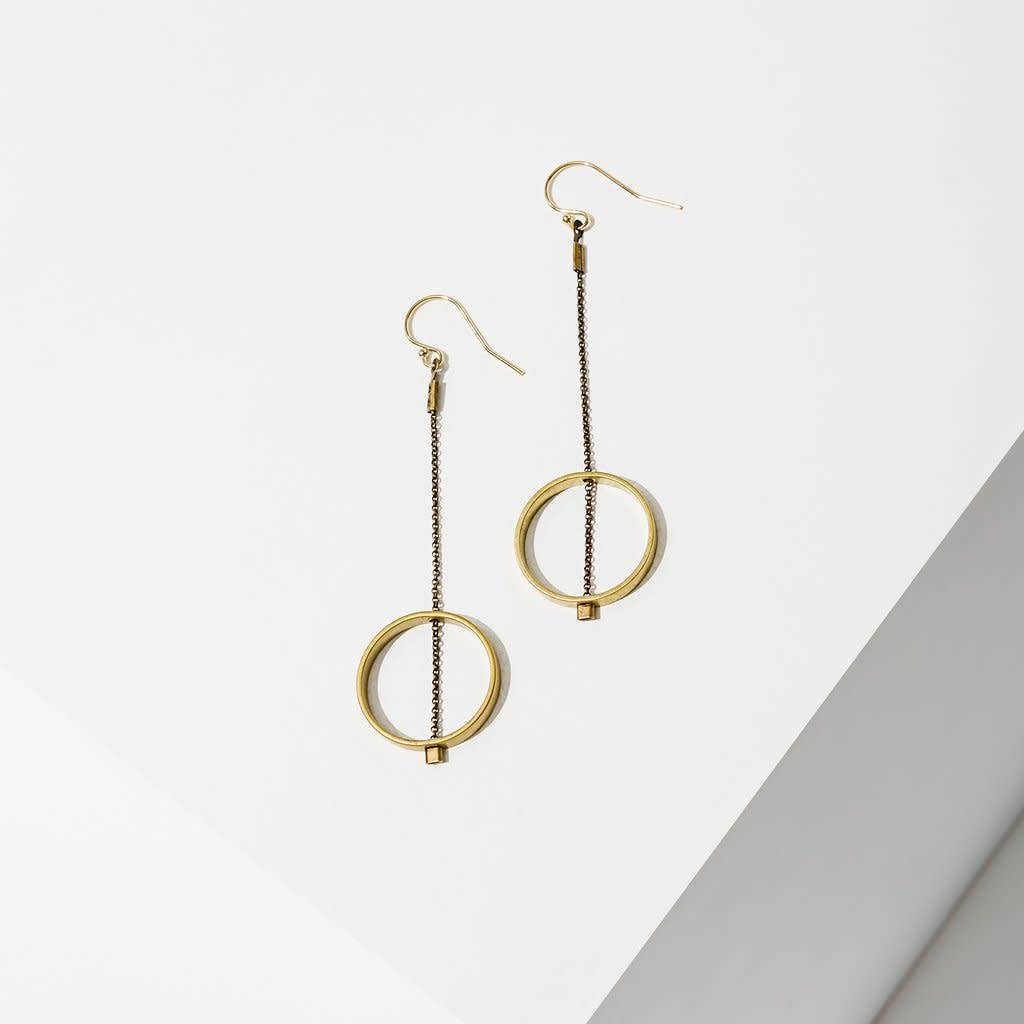 Brass 3 Concentric Hexagon Gold Filled Wire Earrings Lauren Rae Wiring Grommets For Metal Studs Threaded Horizon Circle