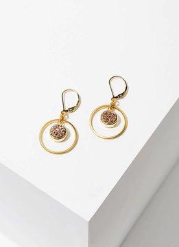 Brass Hoop Circle w Rose Druzy Kamilah Earrings