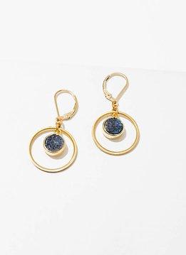 Brass Hoop Circle w Blue Druzy Kamilah Earrings