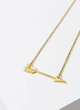 "Brass Arrow 18"" Antique Gold Finish Necklace"