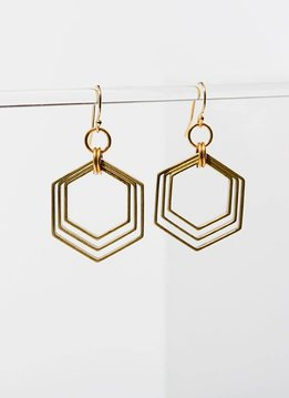 Brass 3 Concentric Hexagon Gold Filled Wire Earrings