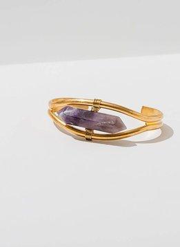 Amethyst Crystal Cuff Bracelet