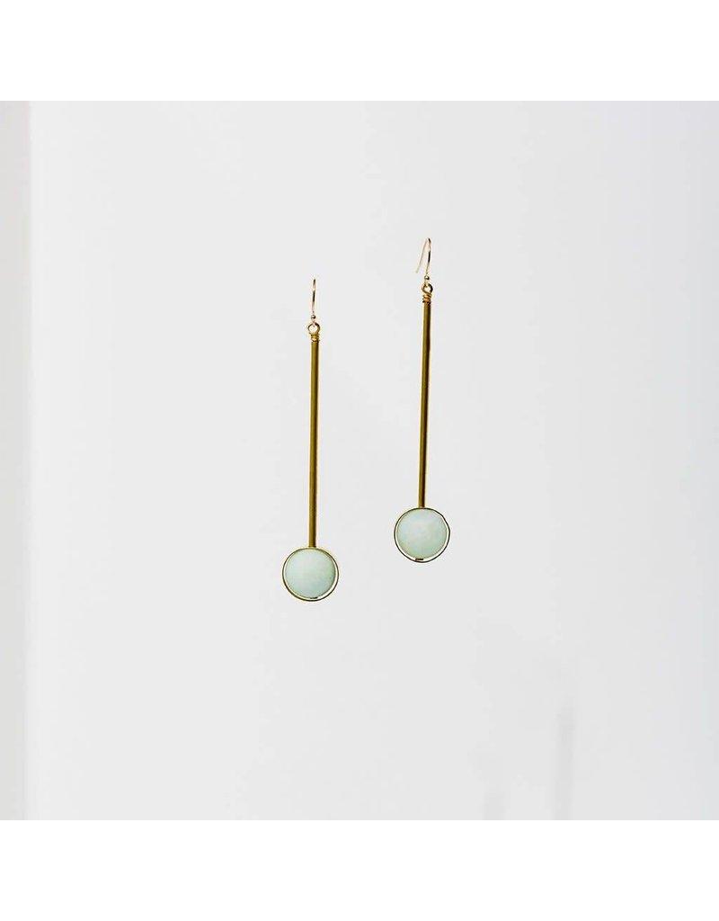 """Larissa Loden Amazonite Stone w Brass Bar Abberant 3"""" Earrings"""