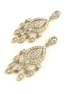 Gold AB Rhinestone Chandelier Earrings