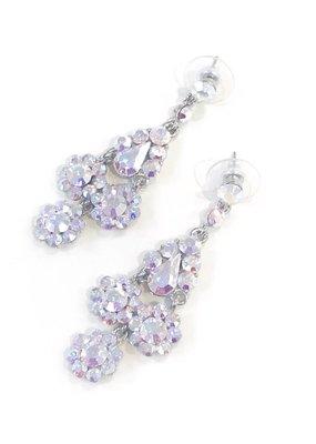 Silver AB Rhinestone Dangling Flower Earrings