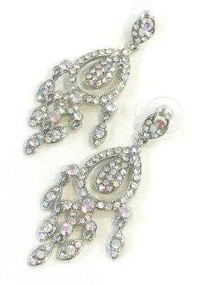Silver AB Rhinestone Chandelier Earrings