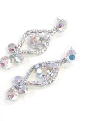 AB Rhinestone Silver Earrings