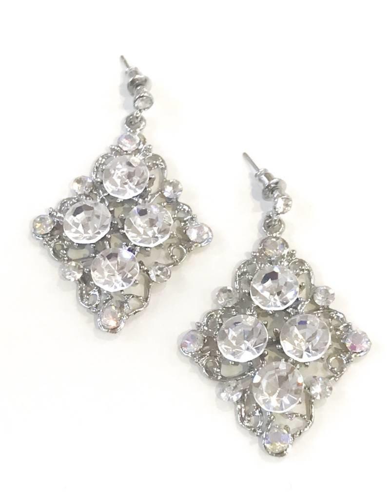 AB/Clear Rhinestone Silver Earrings