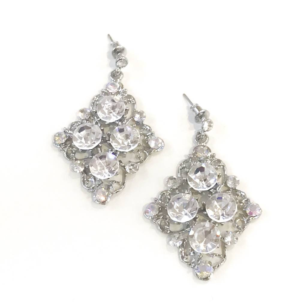 AB/Clear Rhinestone Silver Earrings